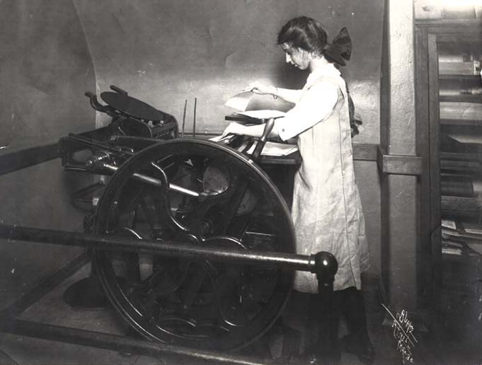 Girl Using C and P Press Vintage