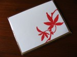 Red leaf card in packaging